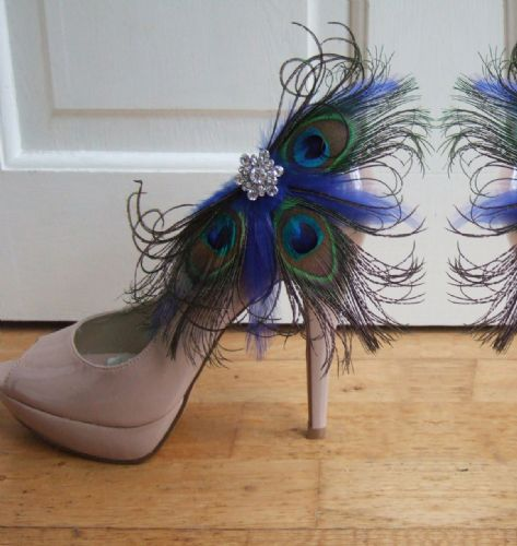 "Bridal / Prom Royal Blue Peacock Feathers ""Gemma"" Crystal Shoe Clips SCP2401"